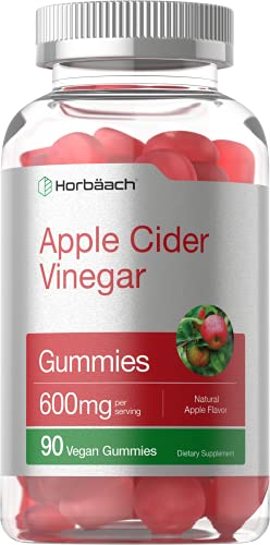 Vegan Apple Cider Vinegar Gummies 600mg   90 Count   Natural Apple Flavor   Non-GMO, Gluten Free   ACV Supplement   by Horbaach