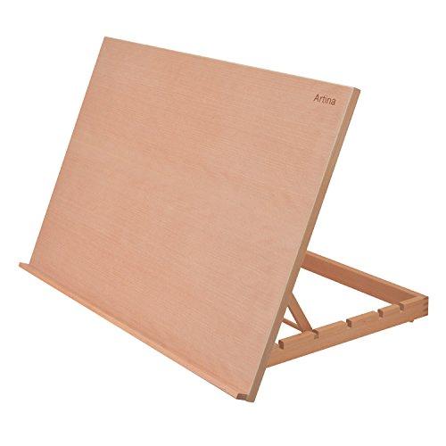 Artina Caballete de sobremesa Monpellier Tabla de dibujo madera de Olmo 75x46 cm Hasta 90° inclinación