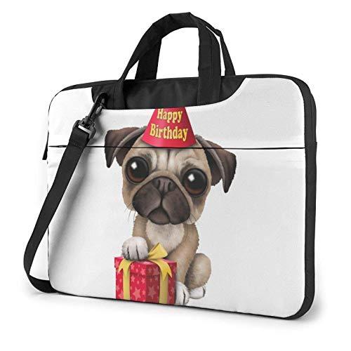 Cute Happy Birthday Pug Puppy Laptop Bag Messenger Bag Briefcase Satchel Shoulder Crossbody Sling Working Bag