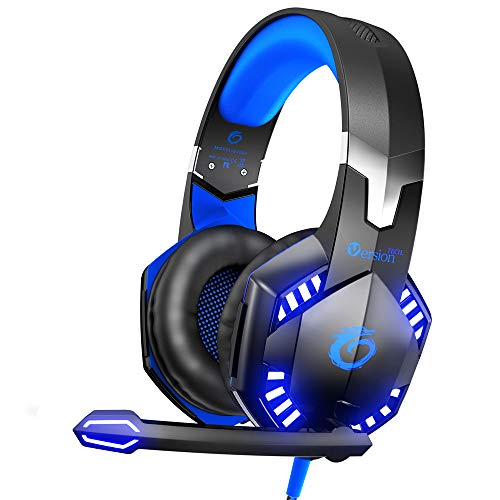 VersionTECH. G2000 Stereo Gaming Headset for Xbox One PS4 PC, Surround Sound Over-Ear Headphones with Noise Cancelling Mic, LED Lights, Volume Control for Laptop, Nintendo NES, PSP, NS Games –Blue