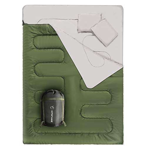 HITORHIKE Double Sleeping Bag for Adults 2 Person Backpacking Sleeping Bag with 2 Pillows 32°F Cold Weather Waterproof Sleeping Bag for Camping, Traveling, Outdoors (Green)