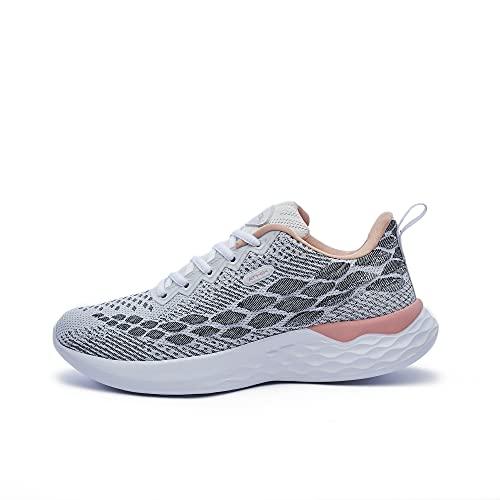 ATHIX Progressive Flexy - Zapatillas de Correr para Mujer, Blanco (Blanco, Gris,Coral), 39 EU - Zapatillas Deportivas, cómodas y Transpirables