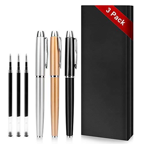 Bolígrafo -3 Bolígrafos de Metal Noble, Para uso Comercial y Escolar Masculino y Femenino, Bolígrafo Exquisito Para Regalos de Cumpleaños de Empresa, Viene con 3 Recambios Adicionales de 0,5 mm