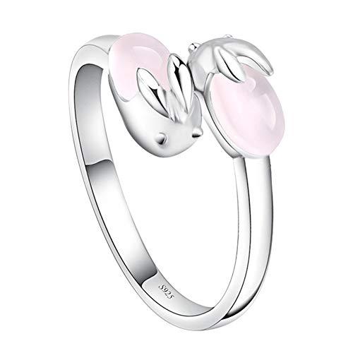 Yazilind Silber Überzogene Offene Ring Kaninchen Tiere Kawaii Kristall Rose Einstellbar Ringe Schmuck Günstige Jubiläum Mädchen Kind
