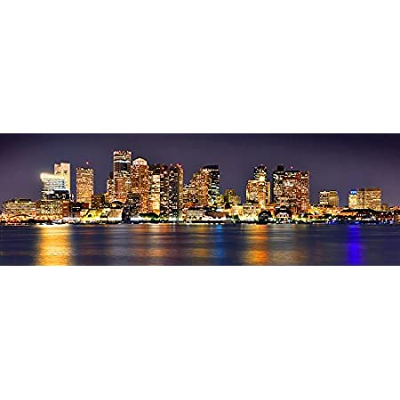 Amazon Com Boston Skyline Photo Print Unframed Night Color City Downtown 11 75 Inches X 36 Inches Archival Photographic Panorama Poster Picture Standard Size Posters Prints
