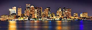 Boston Skyline PHOTO PRINT UNFRAMED NIGHT Color City Downtown 11.75 inches x 36 inches Archival Photographic Panorama Poster Picture Standard Size