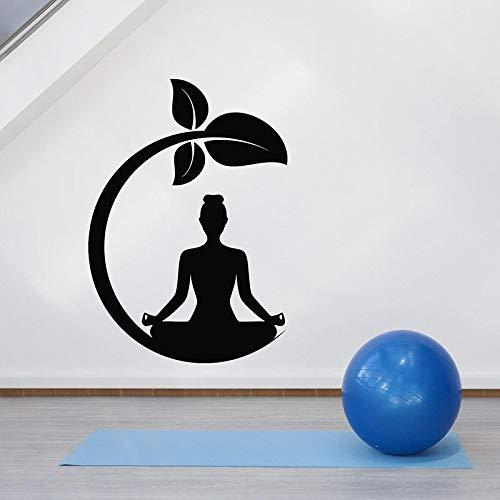 Meditación chica etiqueta de la pared lotus pose sprout zen art mural dormitorio sala de yoga decoración interior puerta y ventana etiqueta de vinilo