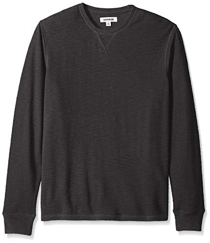 Amazon Brand  Goodthreads Men#039s LongSleeve Slub Thermal Crewneck Black Large