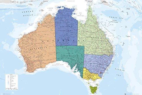 AUSTRALIA MAP Poster Print, 92x61 cm