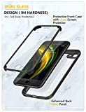 iPhone SE 2020 Case, iPhone 8 Case [Built-in Glass Screen Protector] Military Grade Full Body 360 Shockproof Stylish Bumper Transparent Back Case Cover for iPhone SE 2020/ iPhone 8 (Black)