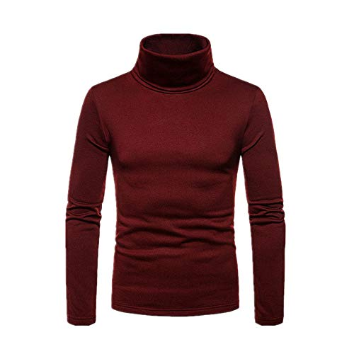 Einfarbig Stretch Pullover Bluse Hemd Herren Top Slim Gr. M, rot