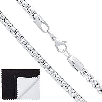The Bling Factory Men s 5mm High-Polished Stainless Steel Square Box Chain Necklace 30 inches