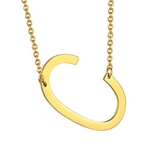 GoldChic Jewelry Women's Letter C Necklace, Big Initial Pendant Monogram Name Necklace for Girl
