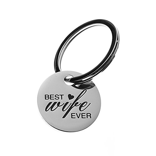 COMISAN Stainless Steel Stamped Charm Key Tag Keychain Pendant Key Ring for Family Relatives Gift (Best Wife Ever)