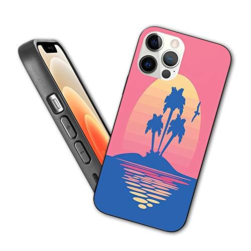 Compatible con iPhone 12 Series 2020 Silhouette of Tropical Land con pájaros volando en Horizonte Sky para iPhone 12 6.1 pulgadas