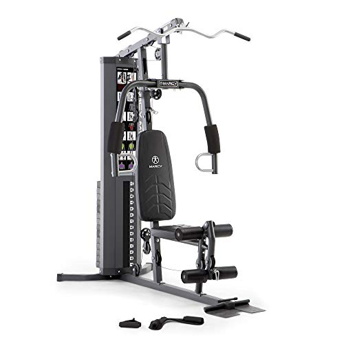 Marcy 150lb. Stack Home Gym with Pulley, Arm, and Leg Developer Multifunctional Workout Station for Weightlifting and Bodybuilding – 300 lbs Capacity MWM-4965, Black