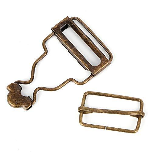 wosume Hebilla Ajustable, Hebilla de Metal, Bronce Plateado sin decoloración Ajustable 10Pcs / Set para Mochilas con(1 Set of Bronze Inner Diameter 2.7CM)