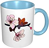 Sakura Cherry Blossoms - Taza de café de porcelana con mango de cerámica para capuchino, té, cacao y cereales, color azul cielo, 11 oz