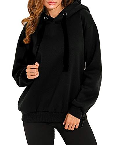 SUNNYME - Sudadera holgada con capucha para mujer, sudadera deportiva, lisa y amplia de manga larga, disponible en tallas grandes Negro A-negro XXXL