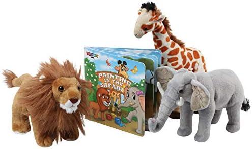 Safari Animals Plush and Book Set Stuffed Animals of 3 Savanna Animals with Storybook 12 Soft product image