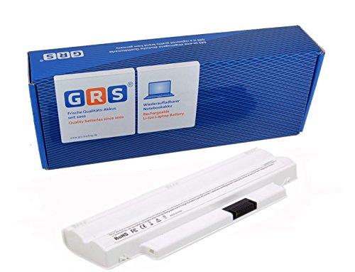 GRS batterie d´ordinateur portable pour DELL Inspiron Mini 10, Inspiron Mini 1012, compatible pour: 312-0966, 312-0967, 8PY7N, A3580082, A3582339, CMP3D, G9PX2, KMP21, MGW5K, XCKN7, 312-1086, portable avec 4400mAh/49Wh, 11,1V, blanc