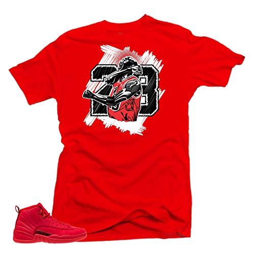 SNELOS Shirt to Match Jordan (Jordan 12 Bulls Goat Shirt (Red), L)