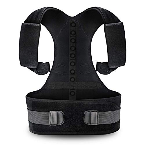 Posture Corrector for Women and Men KarmaRebirth Back Brace with Fully Adjustable Straps Shoulder Cushion Improves Posture Provides Lumbar Support Relieve Lower and Upper Back Pain(M)