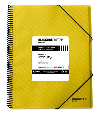 Grafoplas 39835260 Carpeta Polipropileno con 50 Fundas, A4, Color Amarillo, Maxiplás Blackline Cristal