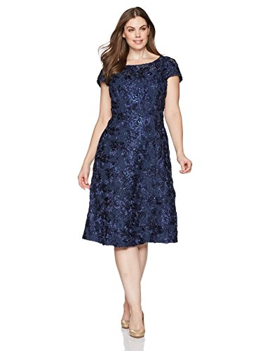 Alex Evenings Women's Plus-Size Tea Length Rosette Dress Sequin Detail, Navy, 16W