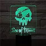 Sea Of Thieves Figura Usb 3D Led Luces de noche Decoración Multicolor Niños Niño Niños Bebé Regalos Juego Logo Lámpara de mesa Noche 7 colores