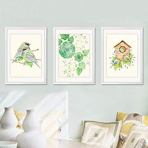 adgkitb canvas Minimalistischen Floral Leinwand Wandkunst Vögel Poster Wandbilder Für Bilder Wohnzimmer Wohnkultur 58x90 cm x 3 KEIN Rahmen
