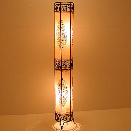 Orientalische Hennalampe marokkanische Stehlampe XL Kadous H130 cm Weiss | Kunsthandwerk aus Marrakesch | Handbemalte Lederlampe handgefertigte Hennaleuchte aus echtem Leder | L1048