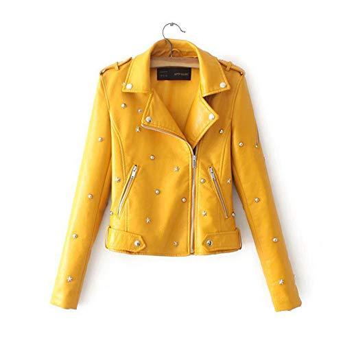 TIKEHAN PU DamenjackeWomen Leather Jacket Short Feminine Coat Faux PU Black Blazer Rivet Motorcycle Outwear