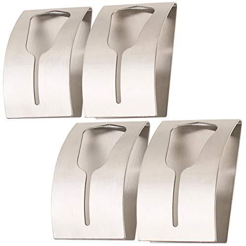 Carlo Milano Handtuchhalter Wand: 4er-Set Handtuchhalter aus rostfreiem Edelstahl, selbstklebend (Handtuchhalter zum Einklemmen)