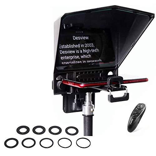 Bestview T2 Teleprompter Smartphone Smartphone Videokamera DSLR Interview-Erinnerung mit Live-Übertragung mit Fernbedienung & 9 Größen von Ringen für Objektivanschluss (aktualisierte Version)