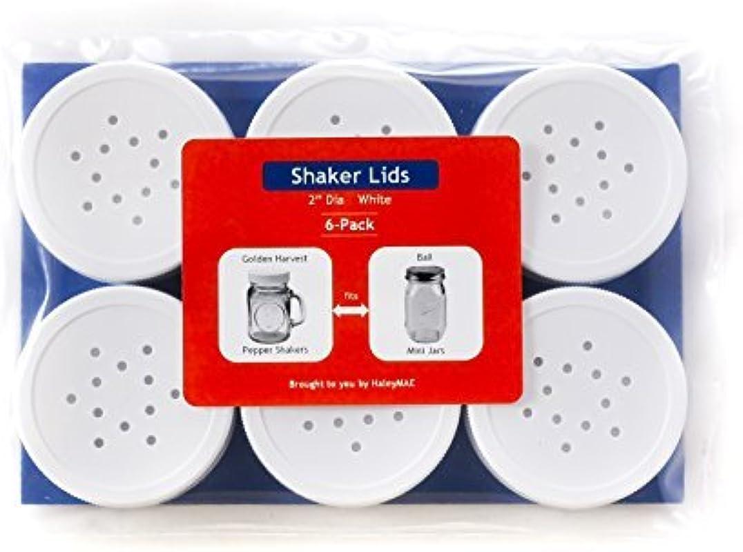 HMLC Plastic Lids With 12 Holes For Golden Harvest 4 Ounce Salt Pepper Shaker Mason Jars 48 400 2 Diameter White 6 Pack