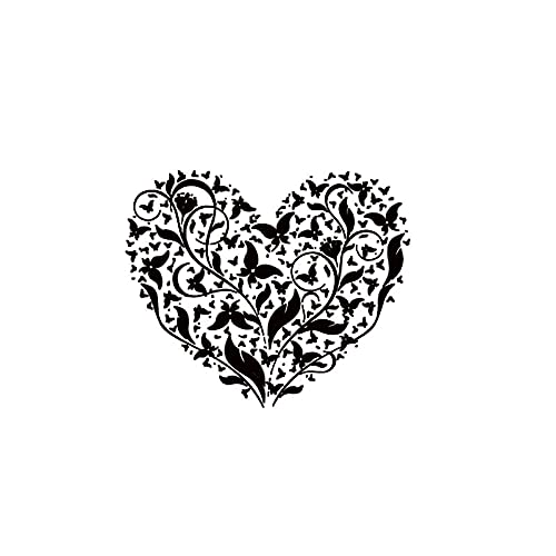 Flores y mariposas pegatina de pared corazón calcomanías de pared decoración del hogar extraíbles pegatinas de decoración de sala de estar para dormitorio A1 55x45cm