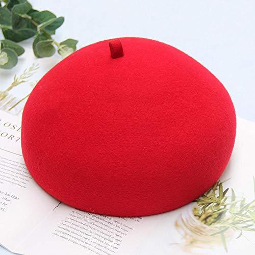 Barett Cap Winter Elegante Frauen Baskenmütze Hüte Retro Mädchen Fedoras Für Weibliche Halbkreis Mädchen Runde Niedlich Cap-Red_One_Size