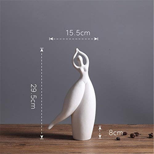 yueyue947 Moderna Abstraccin Simple Bailarina Gorda Figuras de cermica Whiteware Craftwork Creative Bedroom Mesita de Noche Adornos / 16X8X30CM