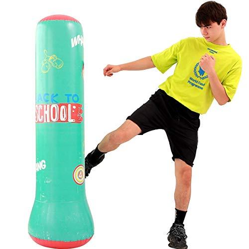 LONEEDY - Saco de Arena Inflable para Fitness, Saco de Arena de pie, para jóvenes y niños, para Entrenamiento Pesado y Boxeo, combinación de Fitness y Entretenimiento, Verde
