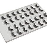 Bodermincer 16 Pairs/Set Faux Mink Hair False Eyelashes Natural Long Wispies Lashes Handmade Cruelty-free Criss-cross Eyelashes Makeup Tools (3D15#)