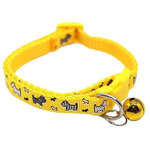 tianxiangjjeu Huisdier Kraag Hond Gedrukt Patroon Bell Gesp Sluiting Verstelbare Kitten Puppy Decoratieve Hals Ketting, Geel