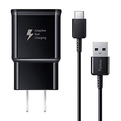 Pantom Adaptive Fast Charging Wall Charger and 5-Feet USB Type C Data Cable Kit Compatible with Samsung Galaxy S10/S10+/S9/S9+/S8/S8+ Note 8/Note 9 & Other Smartphones (Black)