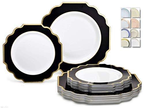 ' OCCASIONS' 50 Plates Pack (25 Guests)-Heavyweight Wedding Party Disposable Plastic Plate Set -(25 x 10.5'' Dinner + 25 x 8'' Salad/Dessert) (Imperial in White/Black & Gold)
