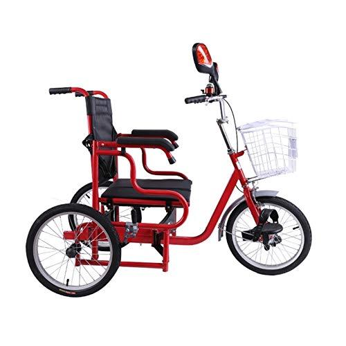 XYSQ Pedal de Triciclo Adulto Plegable para sillas de Ruedas de Bicicleta con Marco de Acero de Alto Contenido de Carbono con Asiento de rodamiento de Banda Ancha