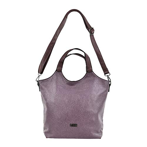 COVERI COLLECTION Borsa donna ecopelle con manicI e tracolla removibile (Rosa Cipolla)