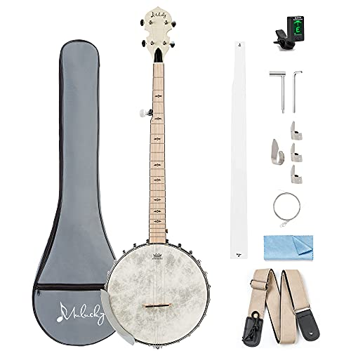 Mulucky 5 String Banjo, Full Size with 24 Brackets, Open Back, Maple Banjo with Remo Head, Geared 5th Tuner, Gift Package with Beginner Kit - B1101