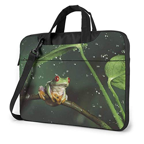 Nature Rain Hylidae Jungle Animals Frogs Laptop Shoulder Bag 15.6 Inch Laptop Messenger Case Laptop Sleeve Carrying Case with Strap