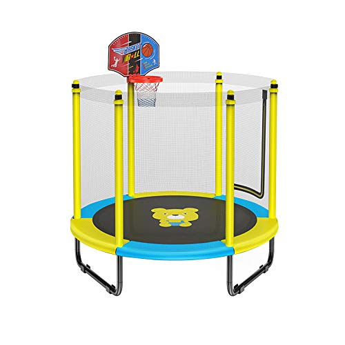GOAIJFEN Outdoor Trampoline Actlvity Kids Safety Enclosure Sports Outdoors Fitness with Basketball Rack | Garden trampoline | Indoor trampoline,Yellow-1.25m*1.5m