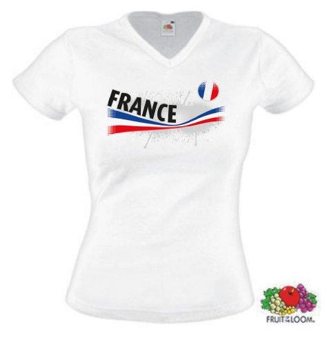 world-of-shirt Damen T-Shirt France/Frankreich Vintage Trikot|XS